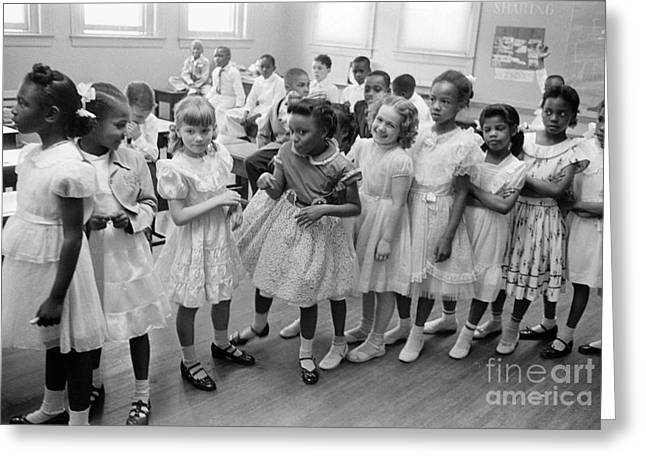 Schoolgirl Greeting Cards - School Desegregation, 1955 Greeting Card by Granger