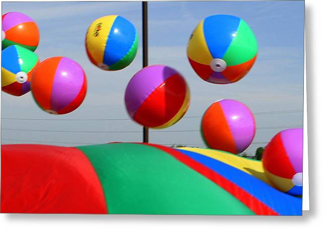 Parachute Ball Greeting Cards - School Field Day  Greeting Card by Maureen  McDonald