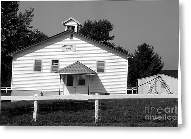 School House In Black And White Greeting Card by Yumi Johnson