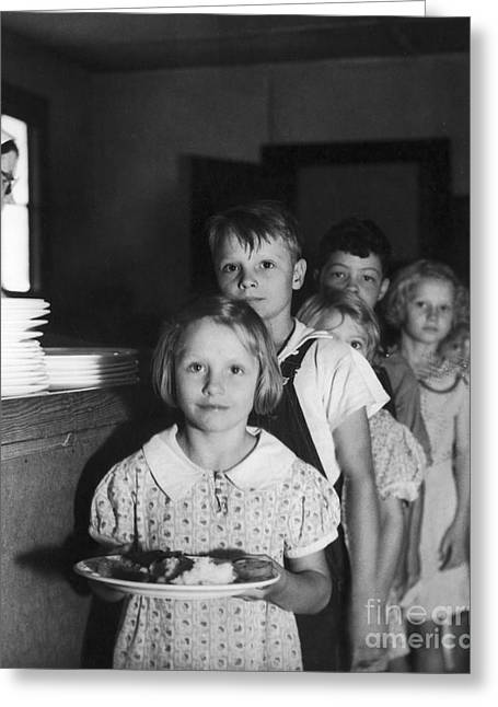 Segregated Greeting Cards - School Lunch, 1936 Greeting Card by Granger