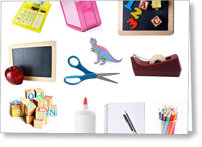 Preschool Greeting Cards - School Objects Greeting Card by HD Connelly