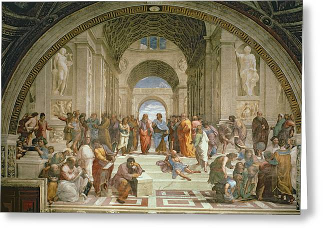 Philosopher Greeting Cards - School of Athens from the Stanza della Segnatura Greeting Card by Raphael