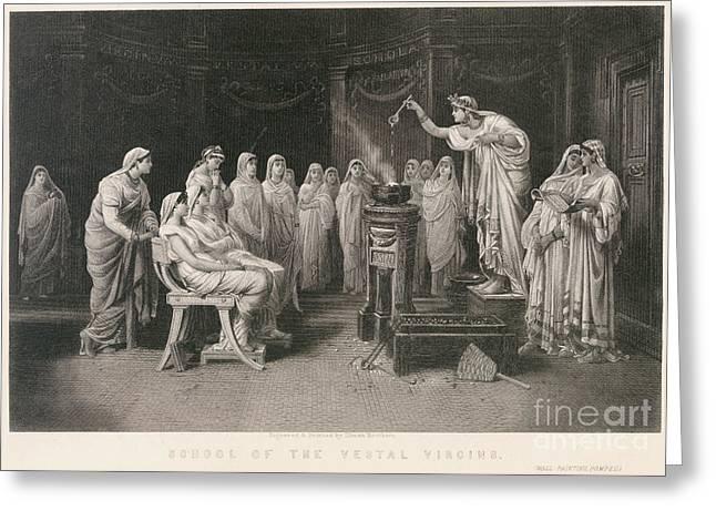 Vestal Greeting Cards - School Of Vestal Virgins Greeting Card by Granger