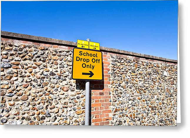 Back Road Greeting Cards - School parking sign Greeting Card by Tom Gowanlock