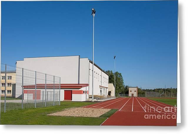 Long Jump Greeting Cards - School Running Track Greeting Card by Jaak Nilson