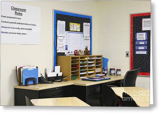 Advancement Greeting Cards - School Teachers Desk Greeting Card by Skip Nall