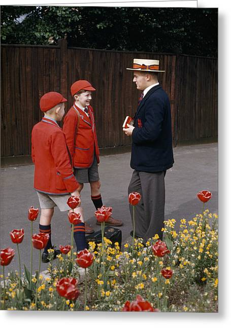 Mixed Age Range Greeting Cards - Schoolboys Chat With A Master At Kings Greeting Card by Franc Shor