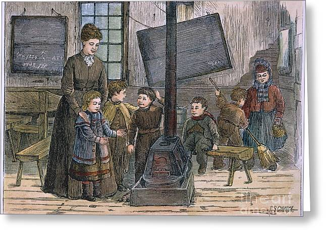 Schoolgirl Greeting Cards - Schoolhouse, 1875 Greeting Card by Granger