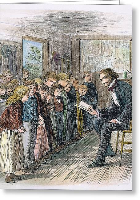 1874 Greeting Cards - Schoolroom, 1874 Greeting Card by Granger