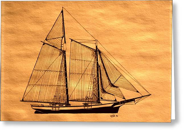 Tall Ships Mixed Media Greeting Cards - Schooner Forgiven Greeting Card by Doug Mills