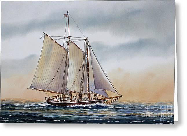 Maritime Framed Print Greeting Cards - Schooner STEPHEN TABER Greeting Card by James Williamson