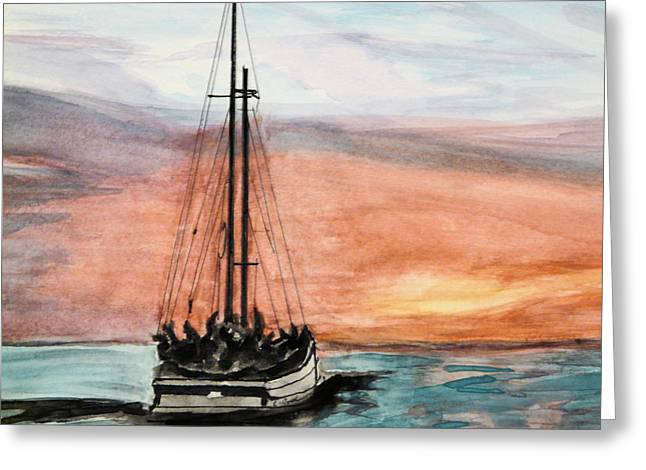 Wooden Ship Greeting Cards - Schooner Sunset Greeting Card by Cathy Jourdan