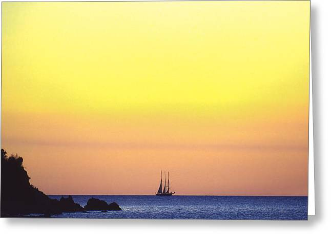 Yellow Sailboats Greeting Cards - Schooner Virgin Islands Greeting Card by Boyd Norton