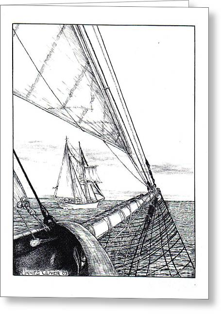 New England Ocean Drawings Greeting Cards - Schooners Greeting Card by James Oliver