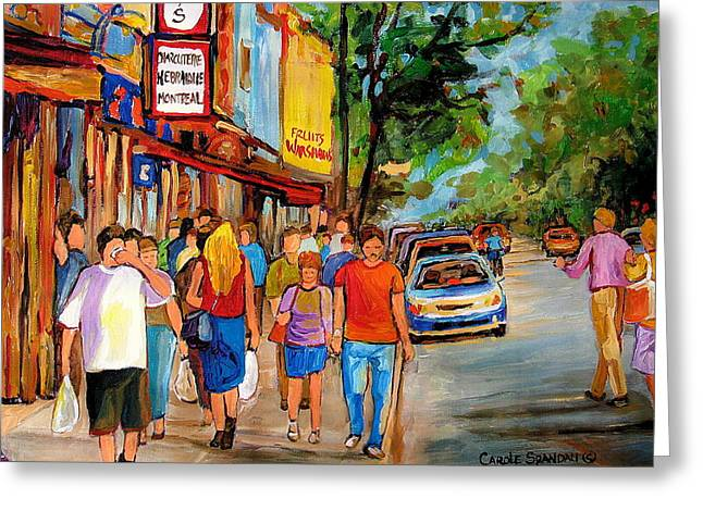 The Main Montreal Greeting Cards - Schwartzs Hebrew Deli Greeting Card by Carole Spandau
