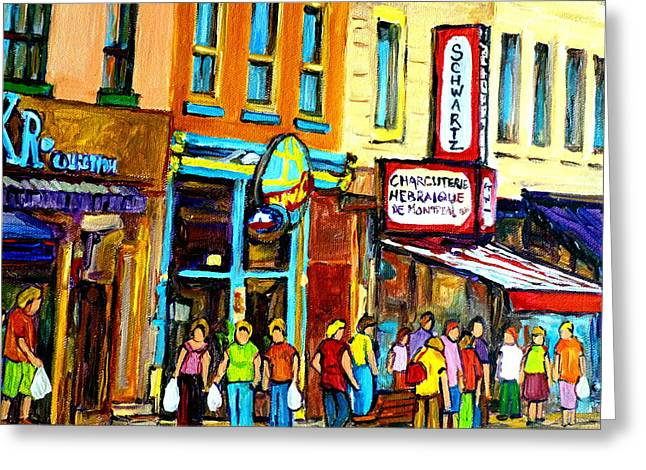 Classical Montreal Scenes Greeting Cards - Schwartzs Hebrew Deli On St. Laurent In Montreal Greeting Card by Carole Spandau