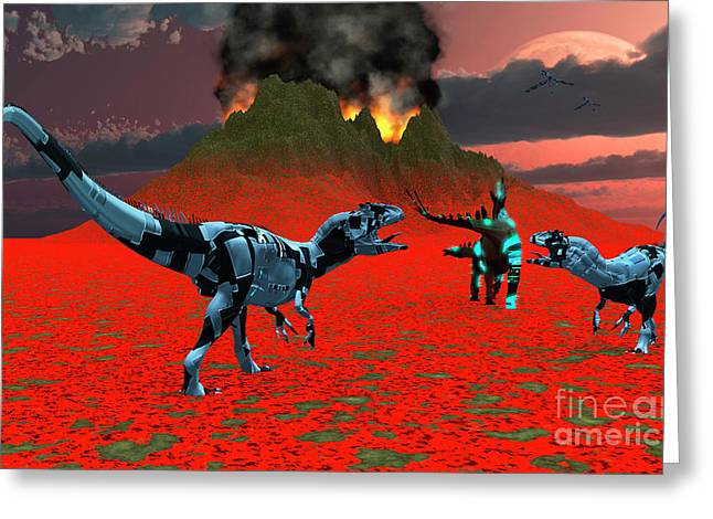 Armor Concept Greeting Cards - Sci-fi Scene Of A Pair Of Allosaurus Greeting Card by Mark Stevenson