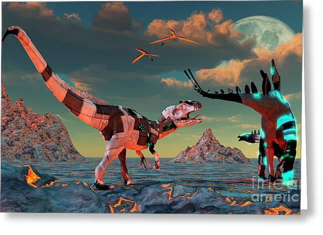 Armor Concept Greeting Cards - Sci-fi Scene Of Allosaurus Greeting Card by Mark Stevenson
