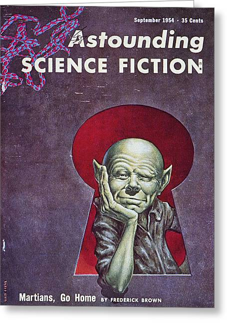 Martians Greeting Cards - Science Fiction Cover, 1954 Greeting Card by Granger