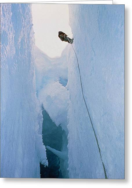 Crevasses Greeting Cards - Scientist Climbing Down Into Chasm, Antarctica Greeting Card by David Vaughan