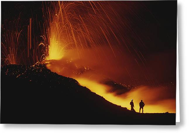 Volcanoes And Volcanic Action Greeting Cards - Scientists Stand Close To The Action Greeting Card by Carsten Peter