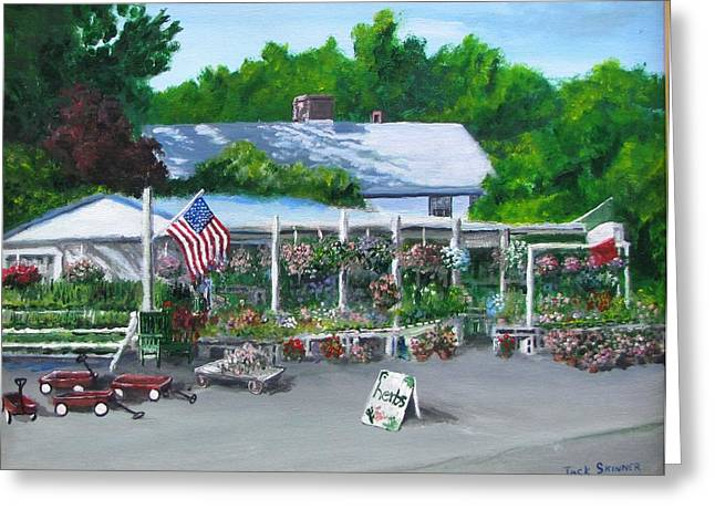 Farm Stand Paintings Greeting Cards - Scimones Farm Stand Greeting Card by Jack Skinner