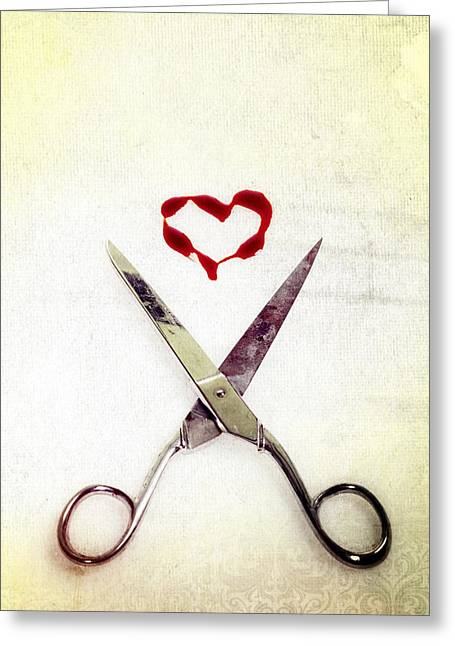 Mark Photographs Greeting Cards - Scissors And Heart Greeting Card by Joana Kruse