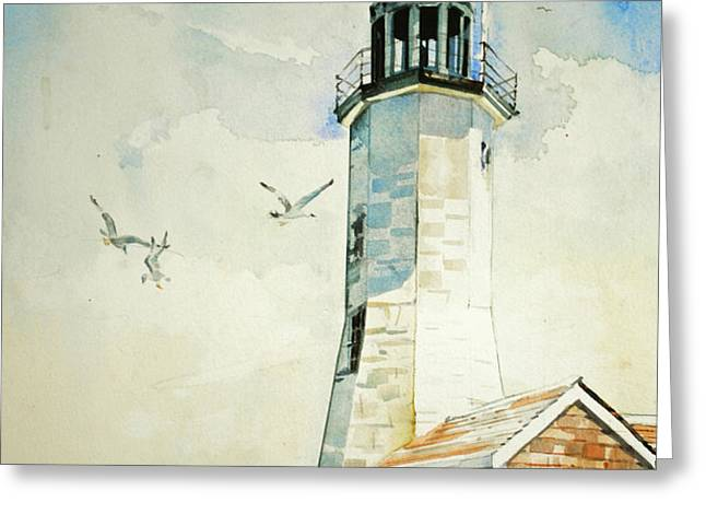 Scituate Light Greeting Card by P Anthony Visco