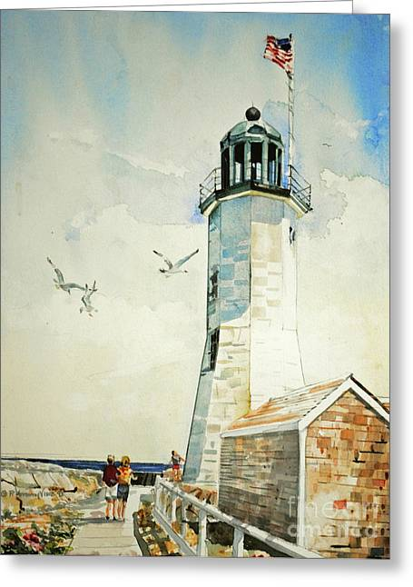 New England Lighthouse Greeting Cards - Scituate Light Greeting Card by P Anthony Visco