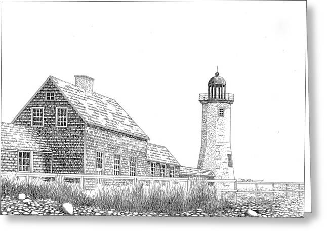 New England Ocean Drawings Greeting Cards - Scituate Lighthouse Greeting Card by Tim Murray
