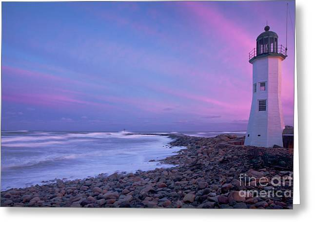 New England Lighthouse Greeting Cards - Scituate Sunset  Greeting Card by Susan Cole Kelly