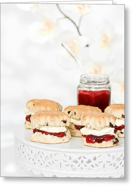 Strawberry Jam Greeting Cards - Scones With Cream And Jam Greeting Card by Amanda And Christopher Elwell