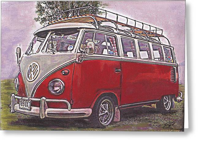 Camping Pastels Greeting Cards - Scoobie Split Greeting Card by Sharon Poulton