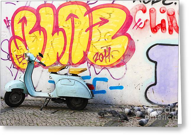 Grafity Greeting Cards - Scooter and graffiti Greeting Card by Manuel Fernandes