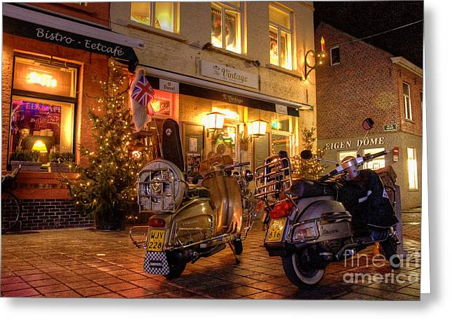 Night Cafe Greeting Cards - Scooters at the Bistro Greeting Card by Rob Hawkins