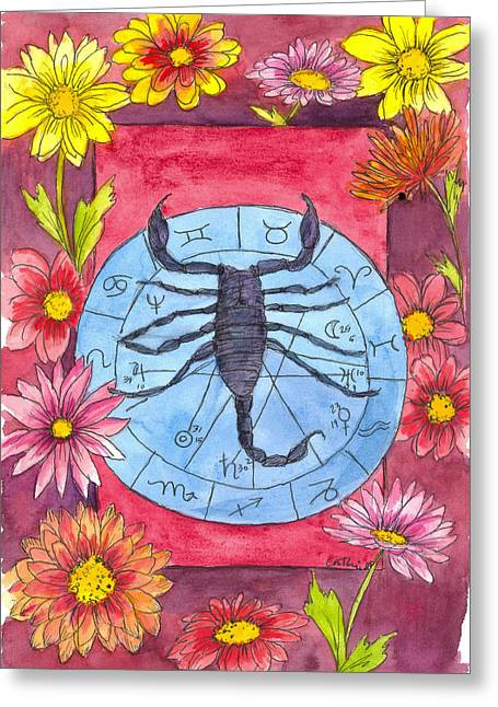 Burgundy Drawings Greeting Cards - Scorpio Greeting Card by Cathie Richardson