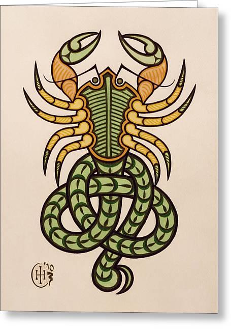 Celtic Paintings Greeting Cards - Scorpio Greeting Card by Ian Herriott