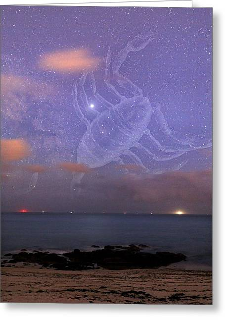 Scorpio In A Night Sky Greeting Card by Laurent Laveder