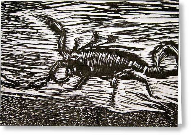 Linocut Paintings Greeting Cards - Scorpion Greeting Card by Marita McVeigh