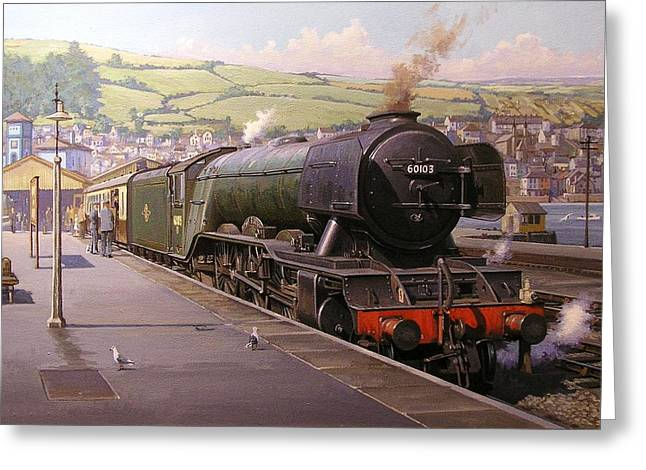 Locomotive Greeting Cards - Scotsman at Kingswear Greeting Card by Mike  Jeffries