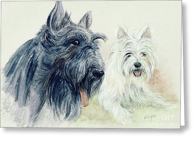 Scottie; Dog Greeting Cards - Scottie and Westie Greeting Card by Morgan Fitzsimons