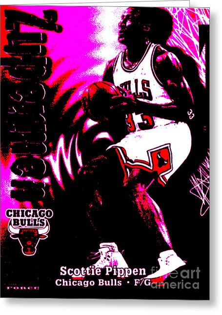 Chicago Bulls Greeting Cards - Scottie Pippen Greeting Card by Marsha Heiken