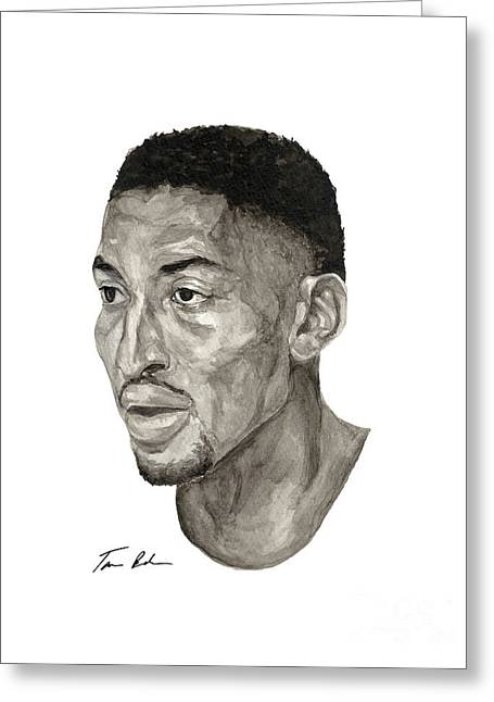 Chicago Bulls Greeting Cards - Scottie Pippen Greeting Card by Tamir Barkan