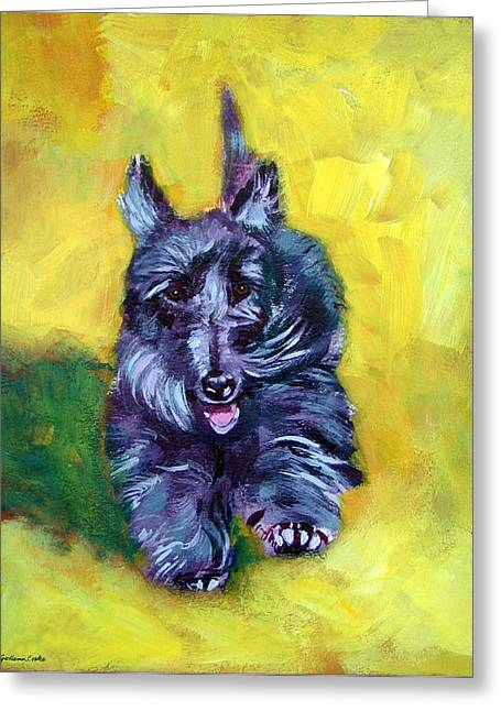 Scottish Terrier Puppy Greeting Cards - Scottie Trot  - Scottish Terrier Greeting Card by Lyn Cook
