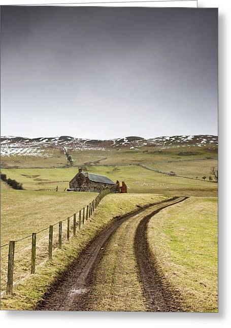 Scottish Borders, Scotland Tire Tracks Greeting Card by John Short