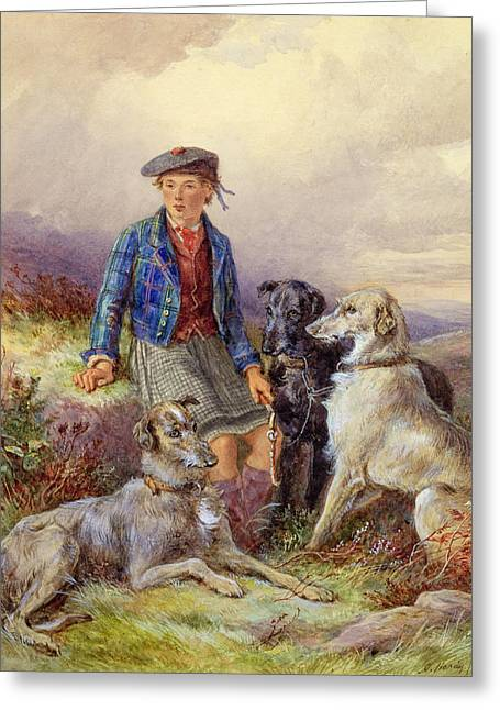 Hardy Greeting Cards - Scottish Boy with Wolfhounds in a Highland Landscape Greeting Card by James Jnr Hardy