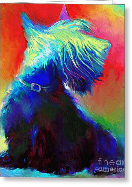 Pet Portrait Artist Greeting Cards - Scottish Terrier Dog painting Greeting Card by Svetlana Novikova