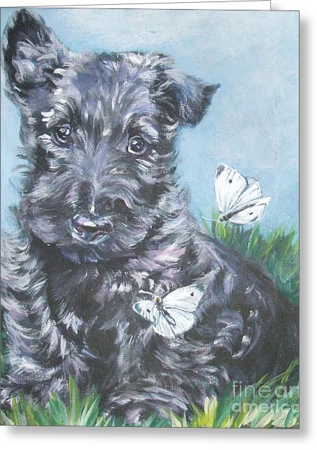 Scottish Terrier Puppy Greeting Cards - Scottish Terrier with butterflies Greeting Card by Lee Ann Shepard