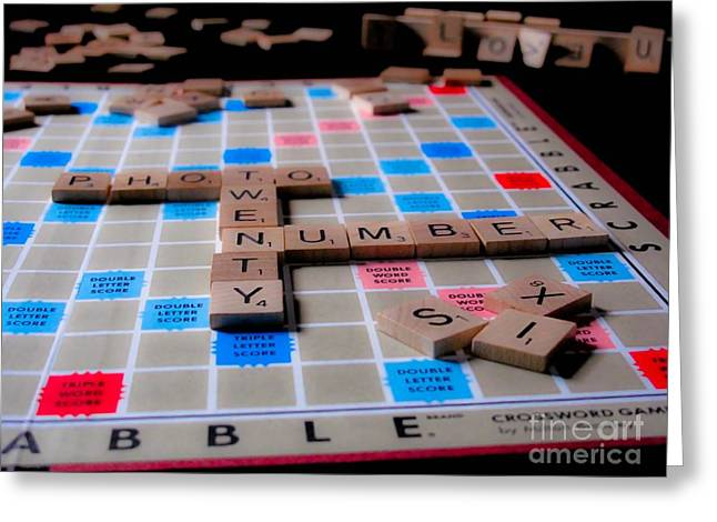 Board Game Greeting Cards - Scrabble Greeting Card by Valerie Morrison