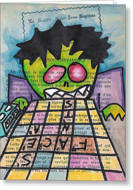Scrabble Greeting Cards - Scrabble Zombie Greeting Card by Jera Sky